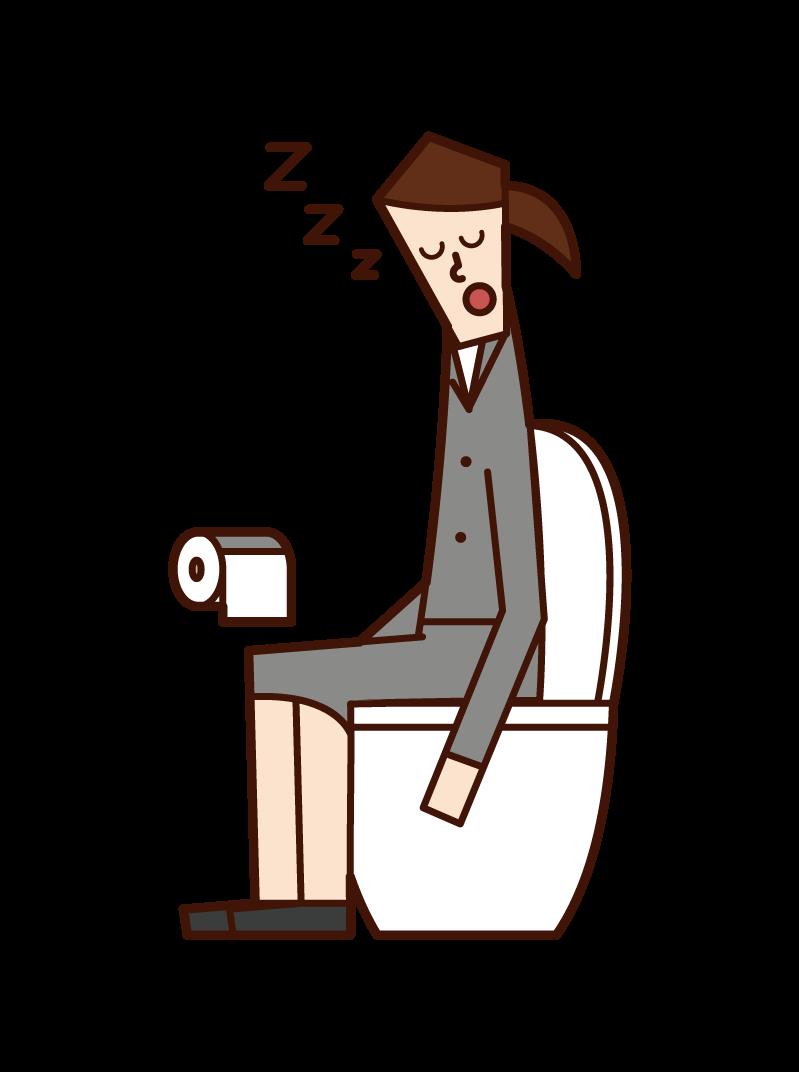 トイレで寝る人(女性)のイラスト