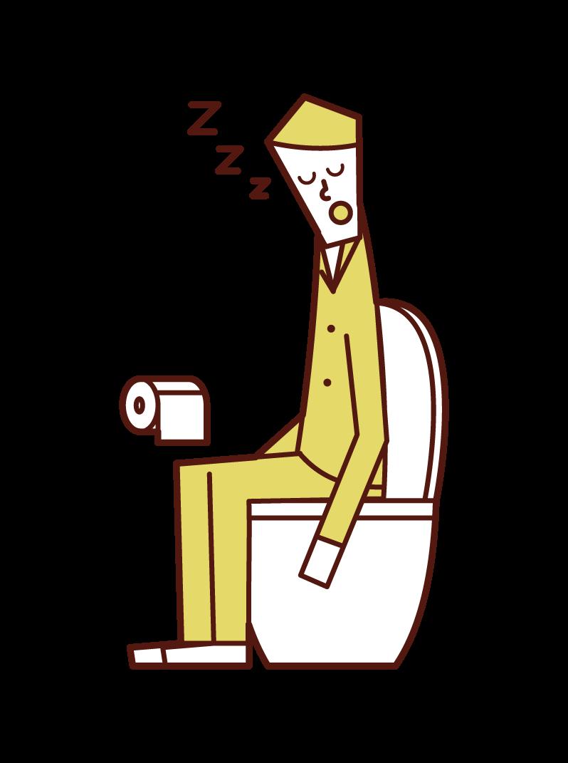 トイレで寝る人(男性)のイラスト