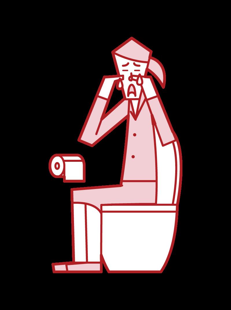トイレで泣く人(女性)のイラスト