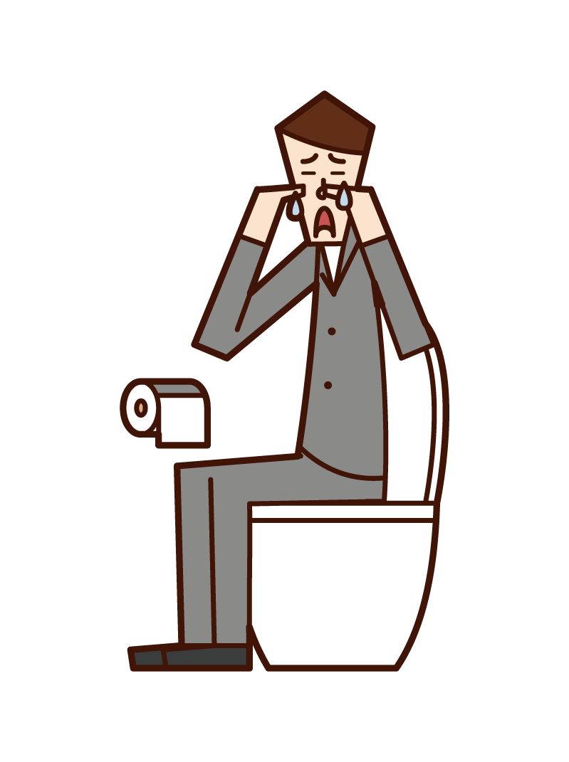 Illustration of a man crying in the toilet
