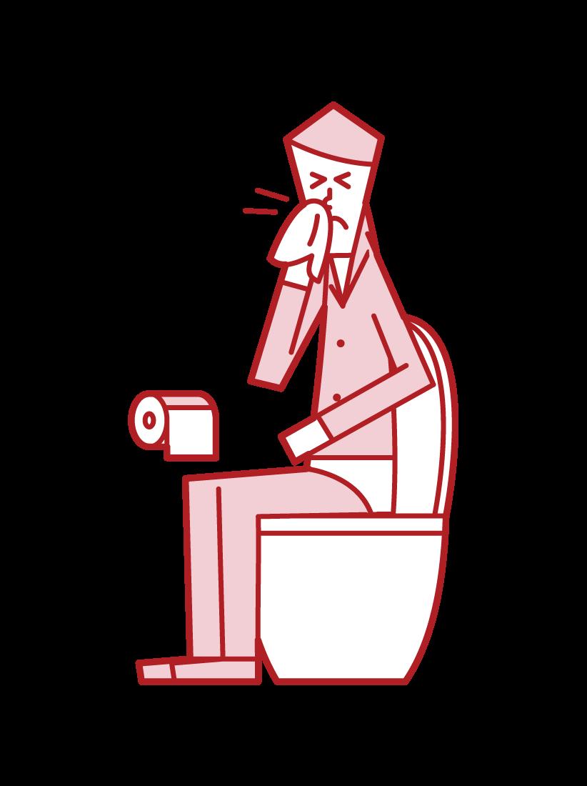 トイレで鼻をかむ人(男性)のイラスト