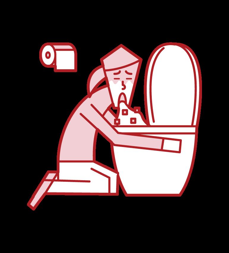 トイレで嘔吐をする人・食中毒(女性)のイラスト
