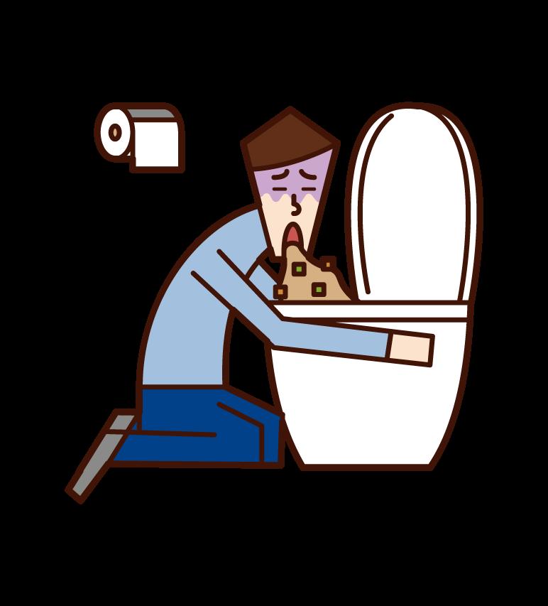 トイレで嘔吐をする人(男性)のイラスト