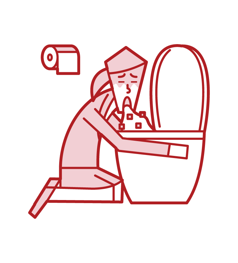 Illustration of a person vomiting in the toilet and food poisoning (woman)