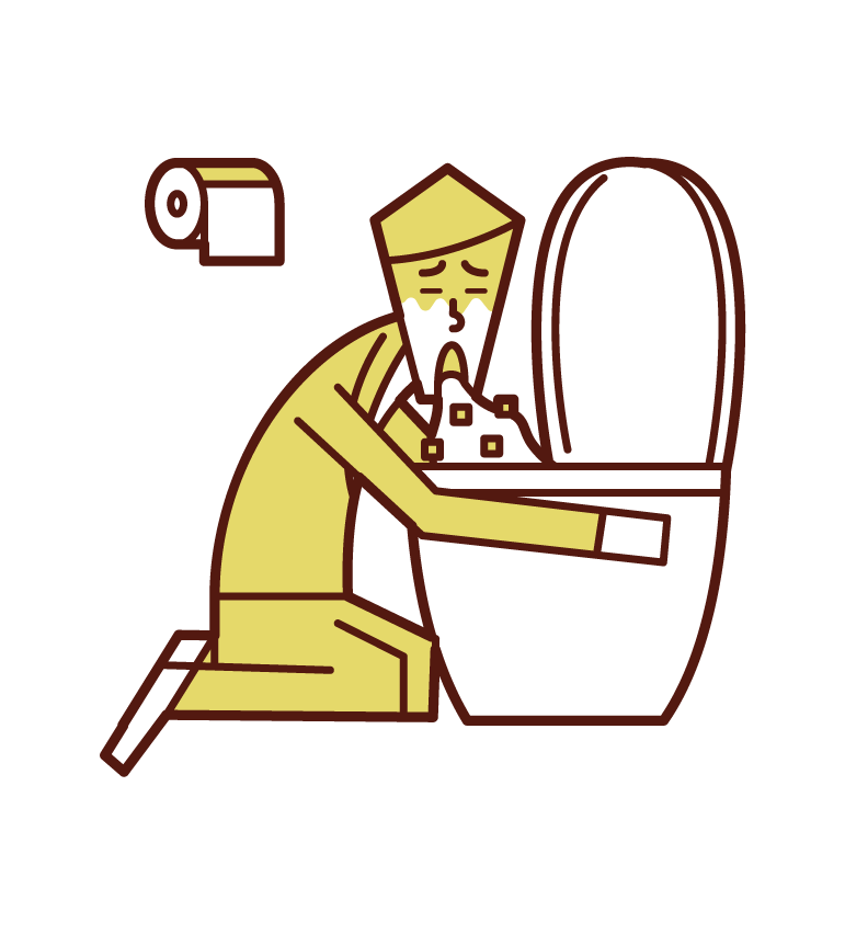 Illustration of a person vomiting in the toilet and food poisoning (male)
