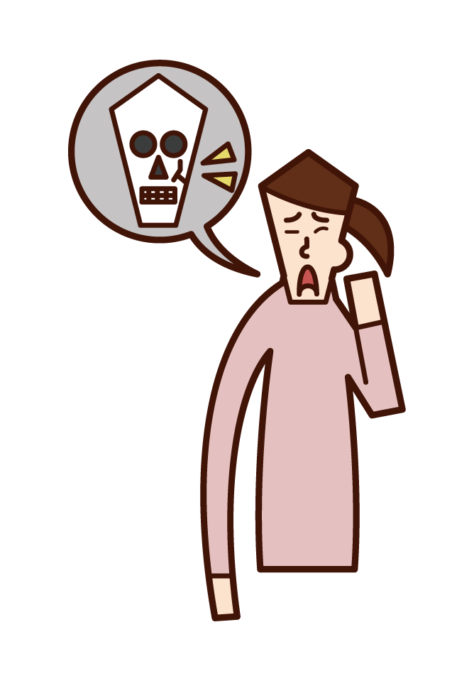 顔面骨骨折(女性)のイラスト