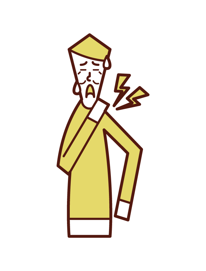 Illustration of stiff shoulders (male)