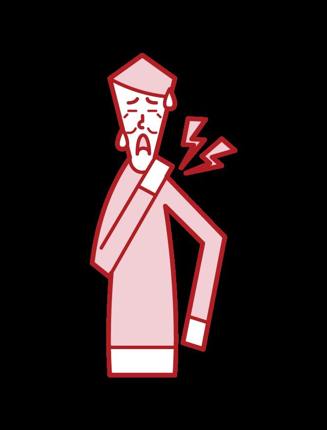 肩こり(男性)のイラスト