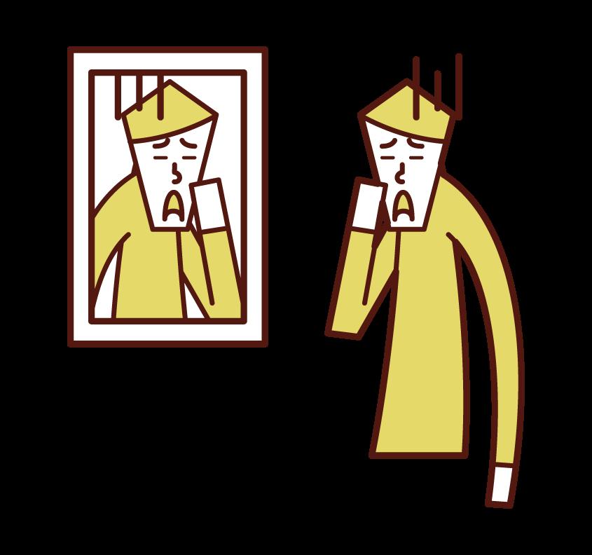 鏡で顔を見る人(男性)のイラスト