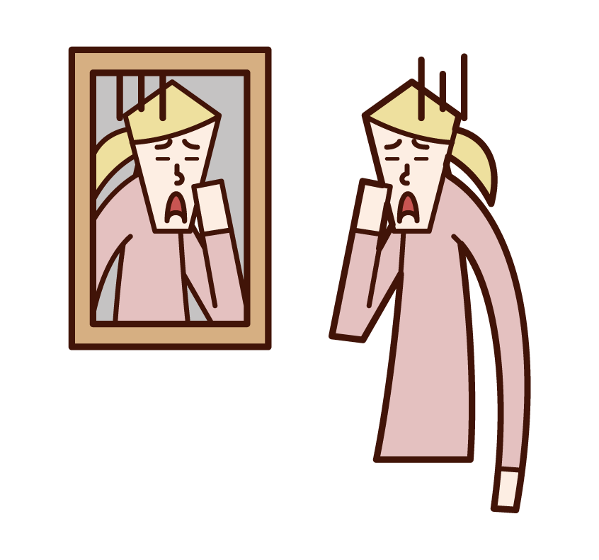 Illustration of a woman looking at her face in the mirror
