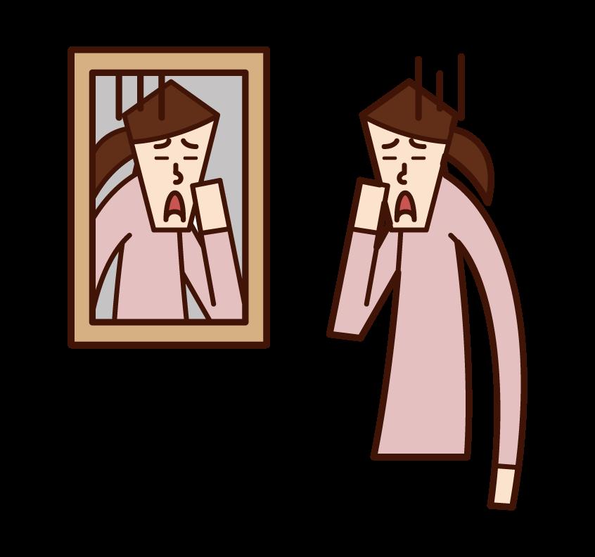 鏡で顔を見る人(女性)のイラスト