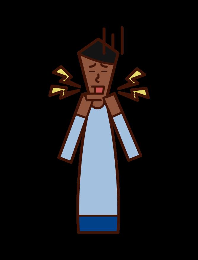 Illustration of temporomandibular joint disease (male)