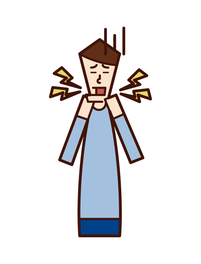 턱에 웅크리고 있는 사람(여성)의 일러스트