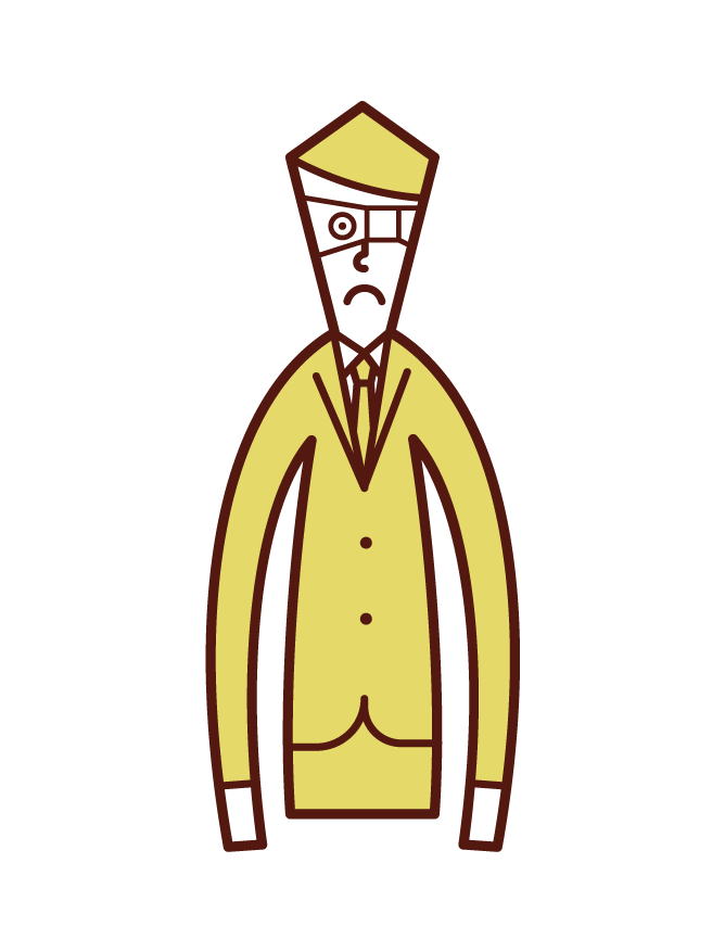 눈꺼풀이 있는 사람(남성)의 일러스트