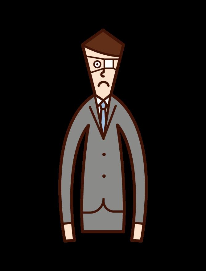 眼帯をしている人(男性)のイラスト