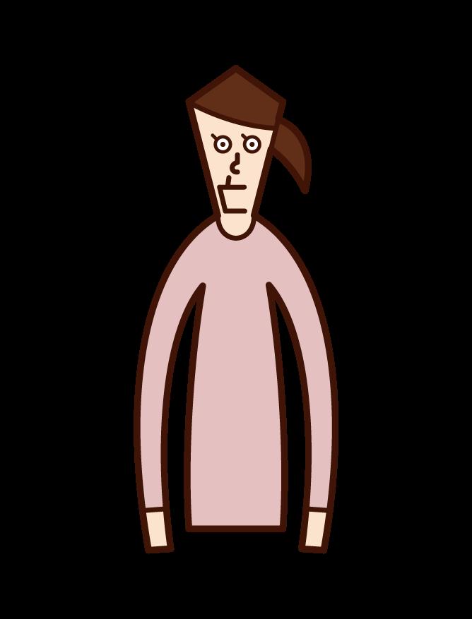 顎がしゃくれている人(女性)のイラスト