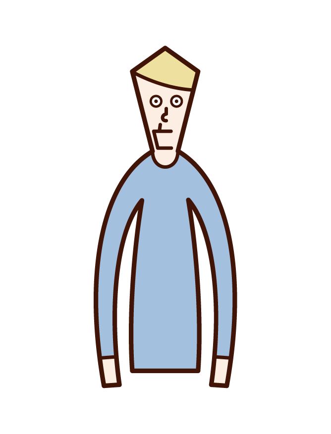 Illustration of a man with a crouched jaw