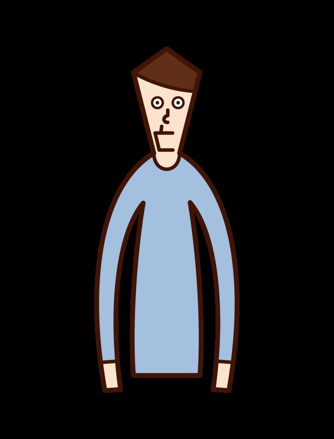 顎がしゃくれている人(男性)のイラスト