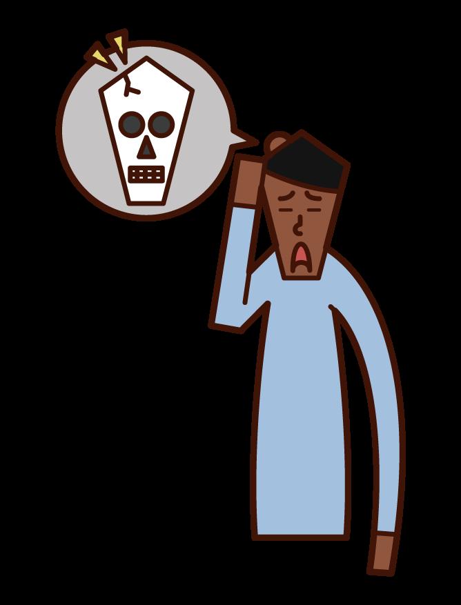 탬콤과 머리 부상 (남성)의 그림
