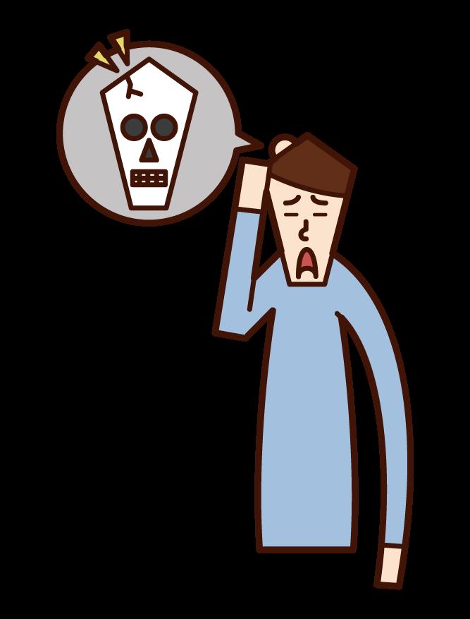 Illustration of a man with a tankobu head injury