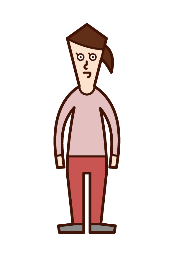 Illustration of short stature and small man's disease (female)