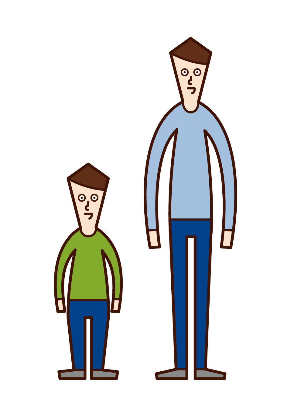 Illustration of short stature and small man's disease (male)