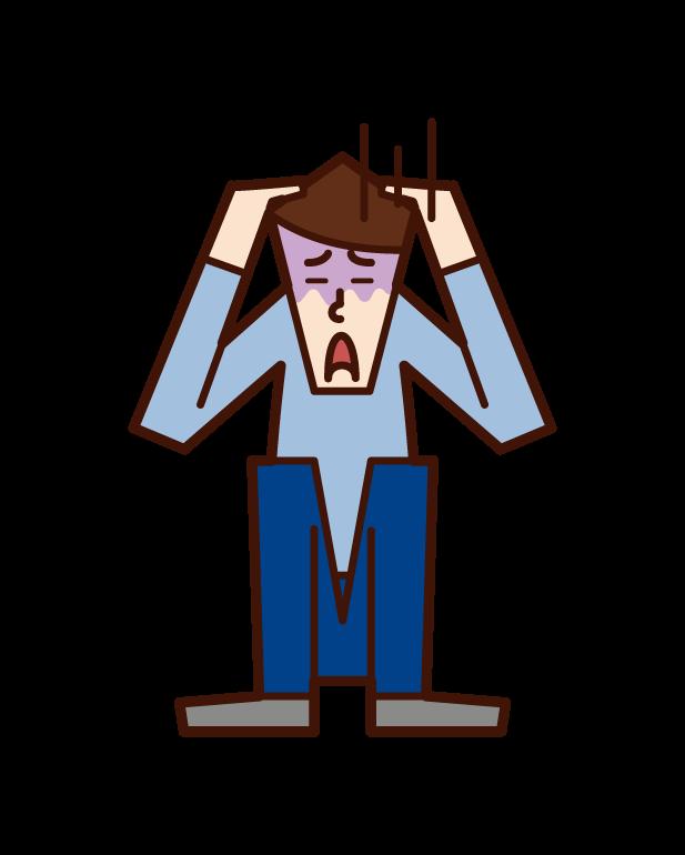 공포에 질린 사람과 공황 장애 (남성)의 그림