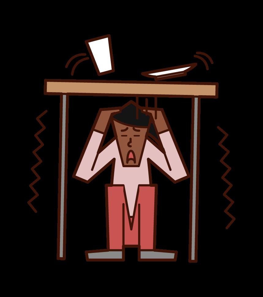 地震で机の下に隠れる人(女性)のイラスト