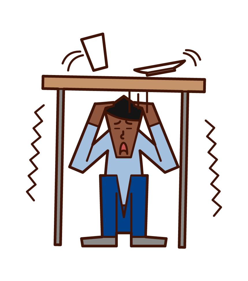Illustration of a man hiding under a desk in an earthquake