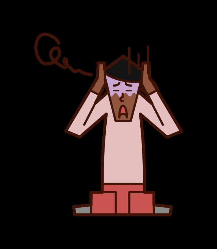 怯える人・パニック障害(女性)のイラスト