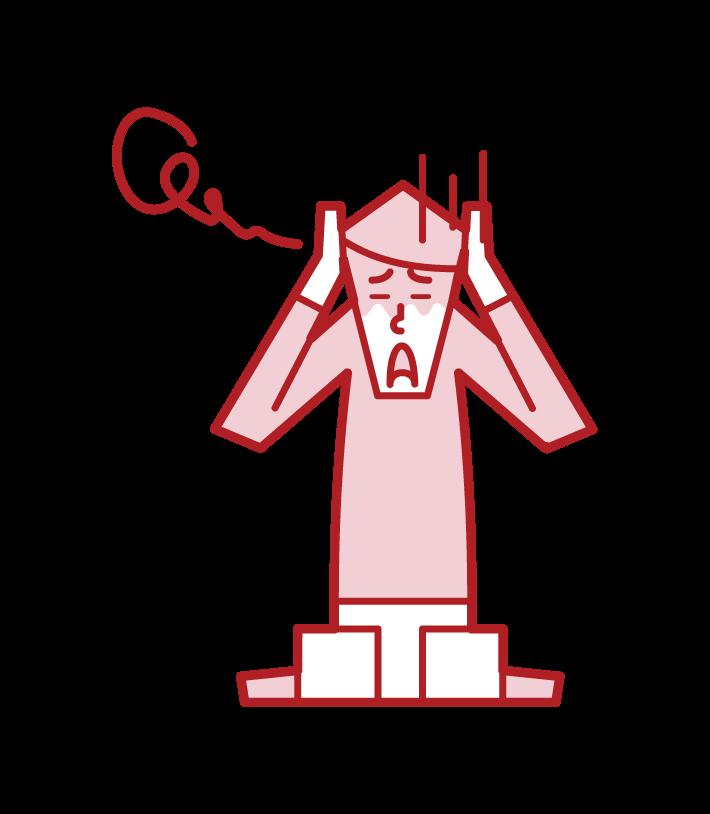 怯える人・パニック障害(男性)のイラスト