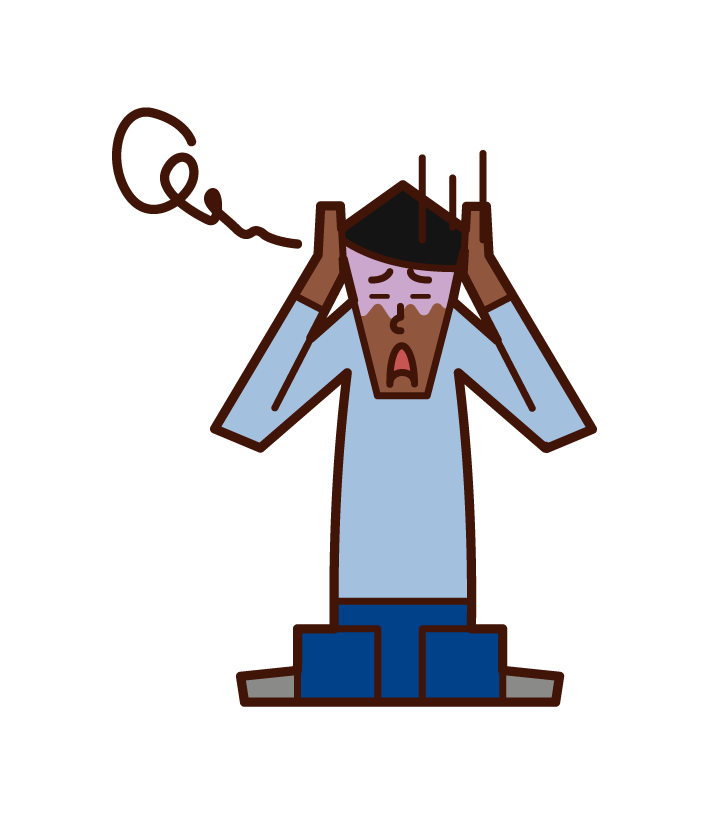 Illustration of frightened person and panic disorder (male)