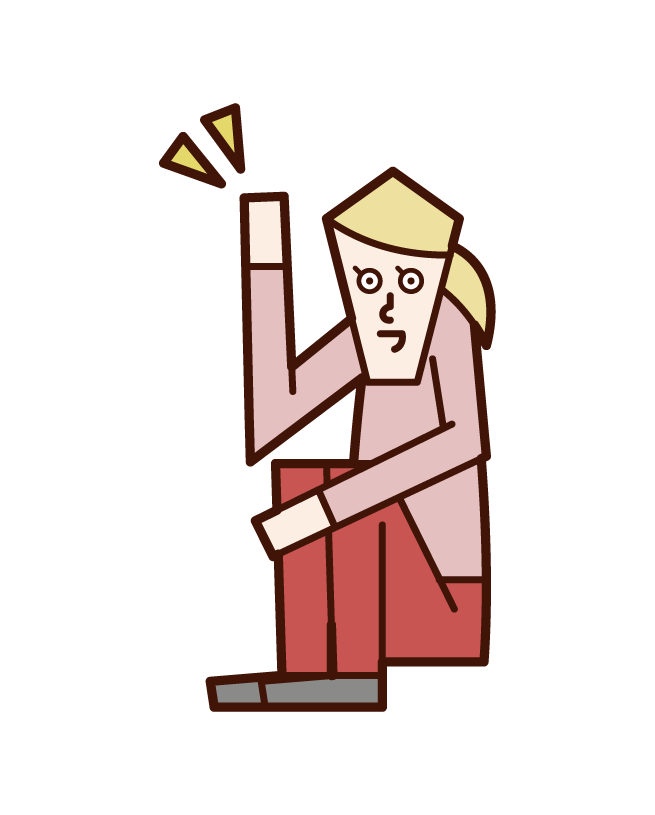Illustration of a woman who hands up while sitting on a triangle