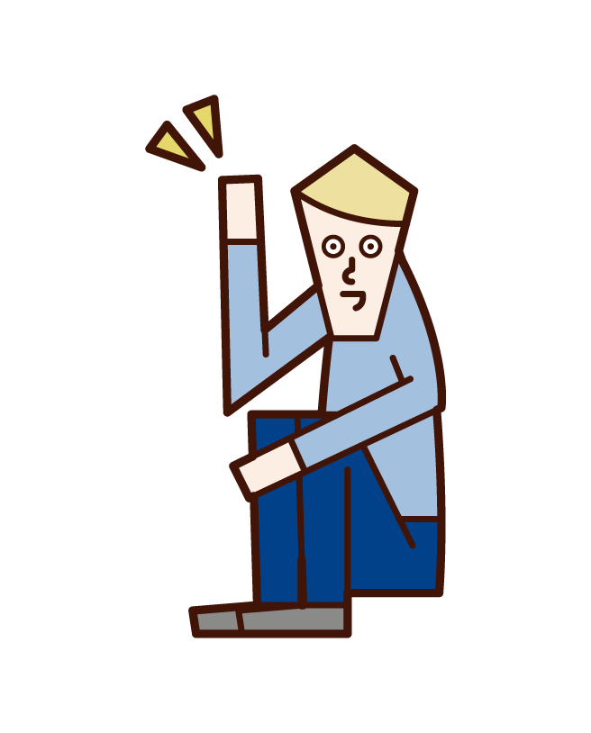 Illustration of a man who hands up while sitting on a triangle