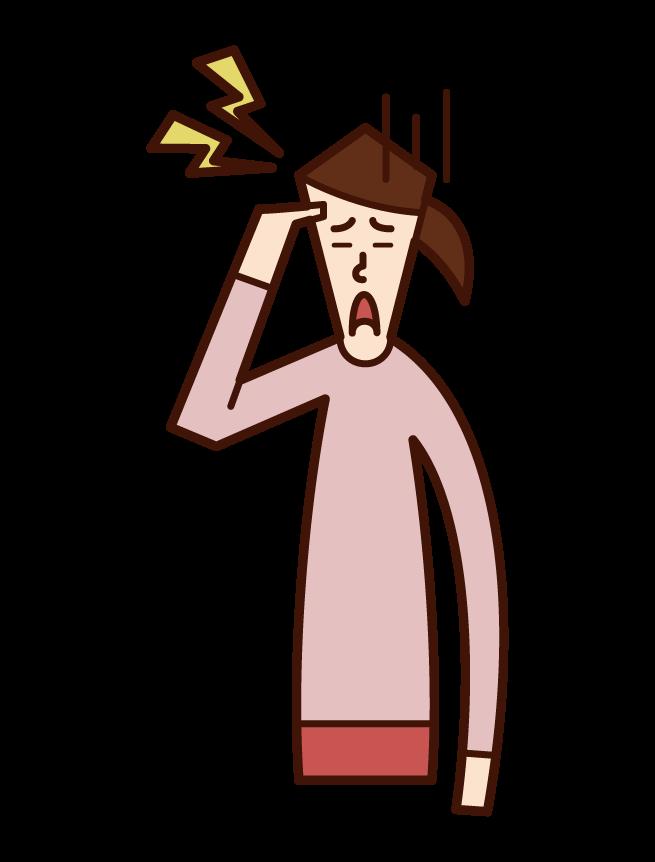 두통 (여성) 그림