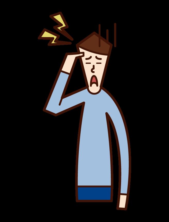 頭痛(男性)のイラスト