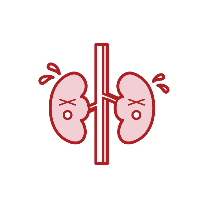 Unhealthy kidney illustration