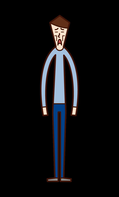 痩せた人(男性)のイラスト