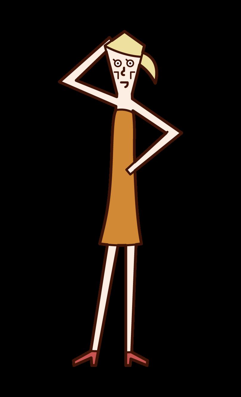 Illustration of a skinny model (woman)