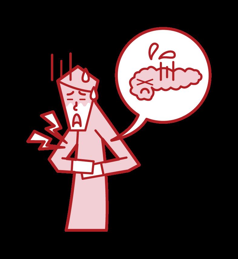 Illustration of pancreatitis (male)
