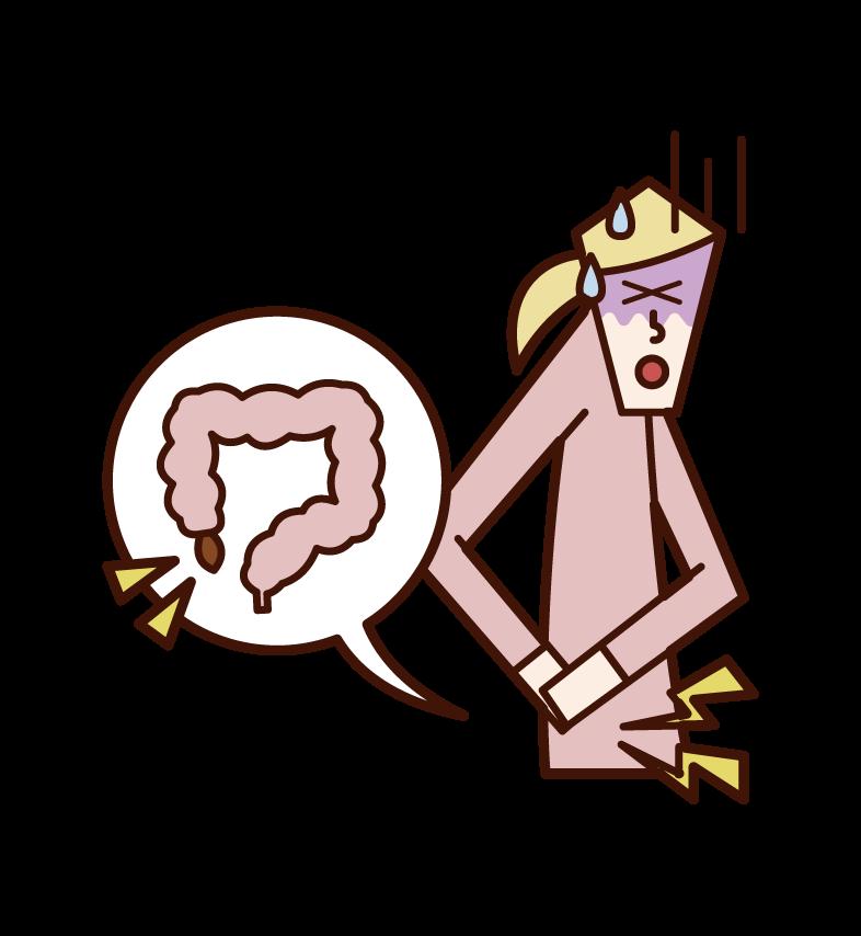 虫垂炎・盲腸(女性)のイラスト