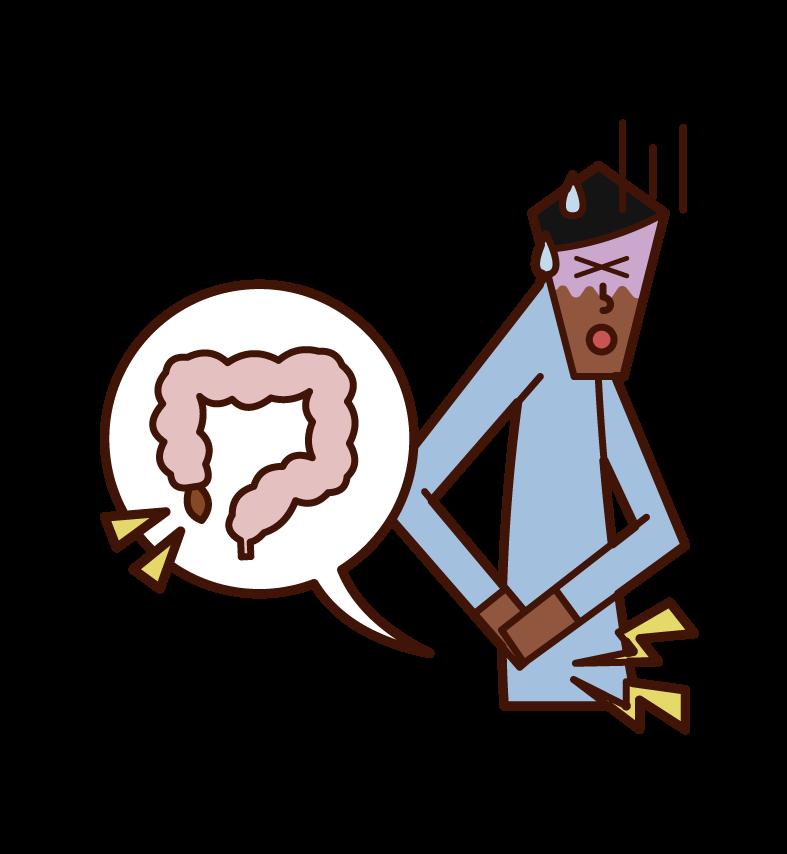 虫垂炎・盲腸(男性)のイラスト