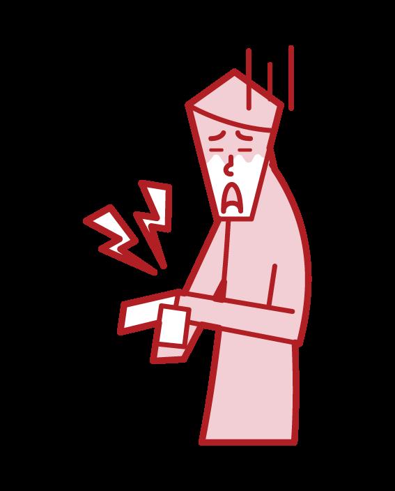 Illustration of tenosynovitis (male)