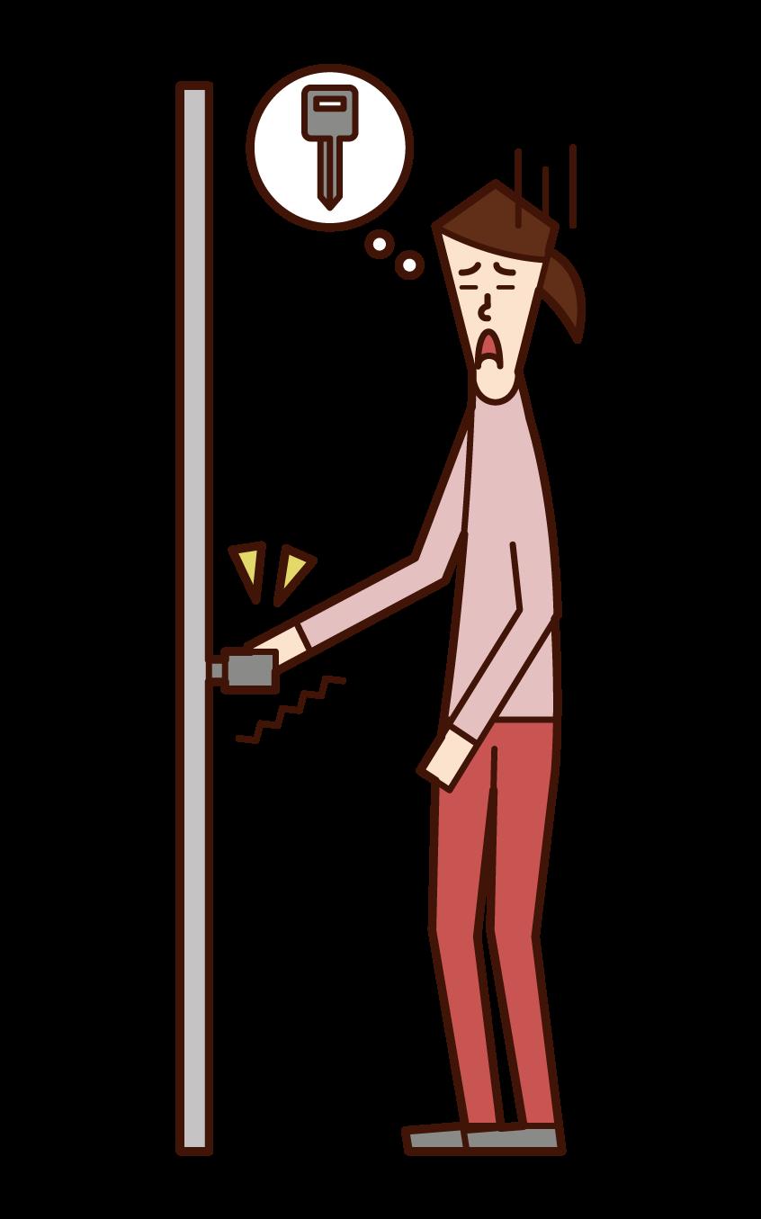 強迫性障害(女性)のイラスト