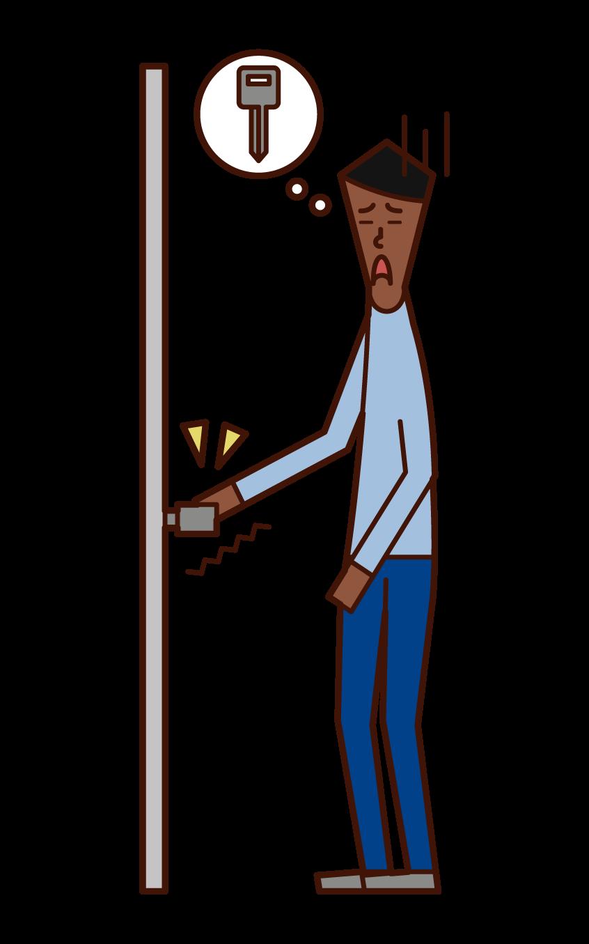 強迫性障害(男性)のイラスト
