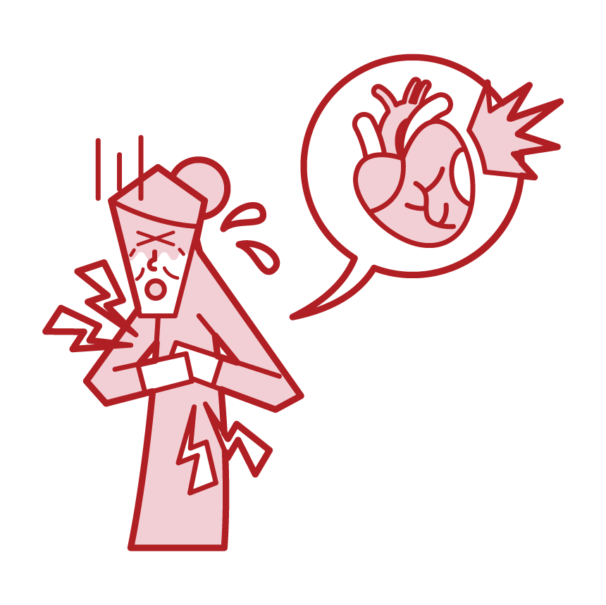 Illustration of ischemic heart disease, myocardial infarction, angina pectoris, heart failure (female)
