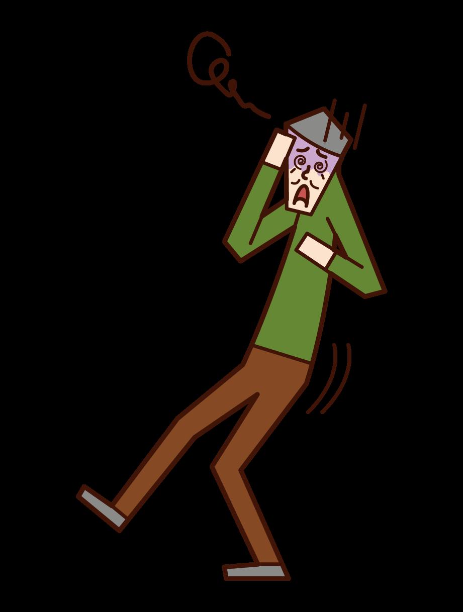 貧血で倒れそうな老人(男性)のイラスト