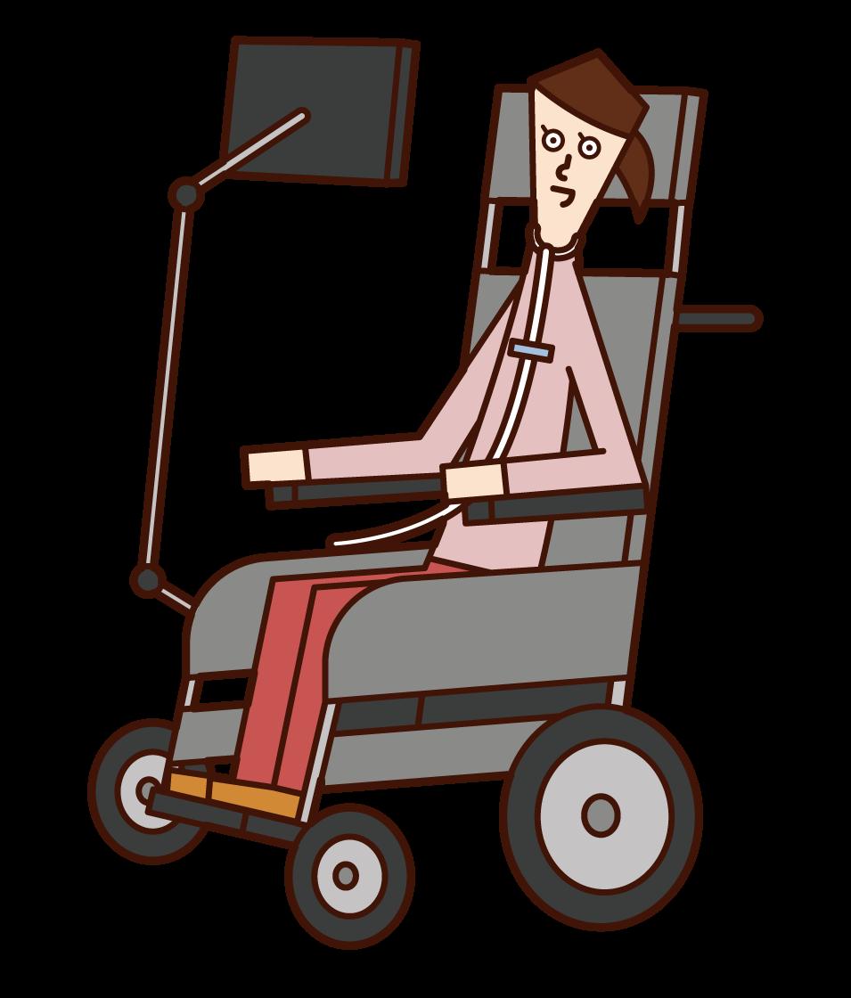ALS(筋萎縮性側索硬化症)の人(女性)のイラスト