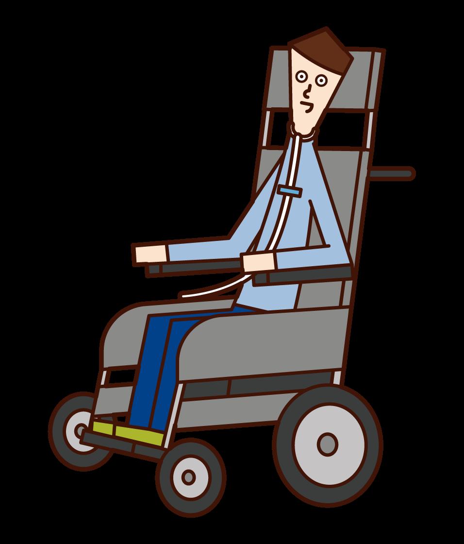 ALS(筋萎縮性側索硬化症)の人(男性)のイラスト