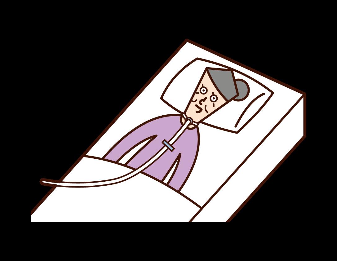 ALS(筋萎縮性側索硬化症)患者(女性)のイラスト